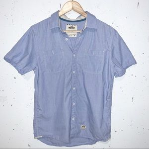 Vans Mens Button Down Casual Top Blue Logo Patch Short Sleeves Size Small